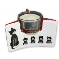 Candle holder with black cat by the french illustrator Dubout