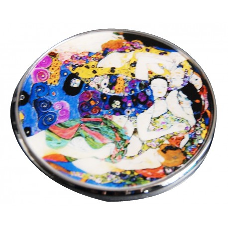 "Mirror with printed artwok ""the kiss"" from famous artist Gustave Klimt"