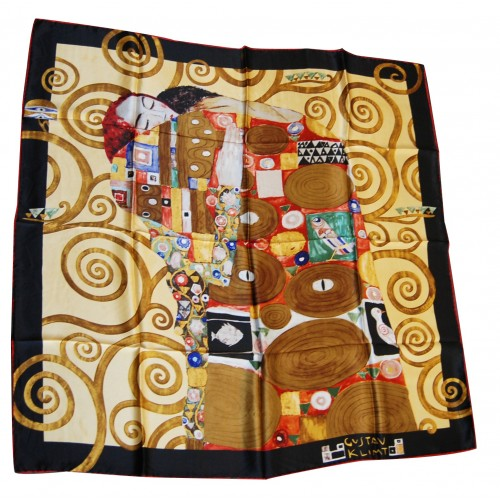 Beau foulard original à offrir en soie illustration Klimt fulfilment