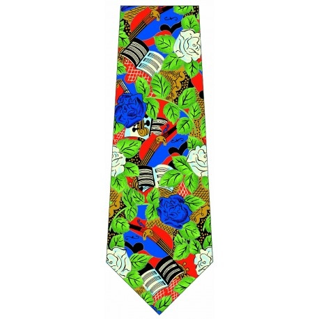 Flowered silk tie with printed artworks of Raoul Dufy