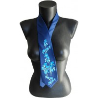 Black silk tie with printed artworks of Van Gogh Irises