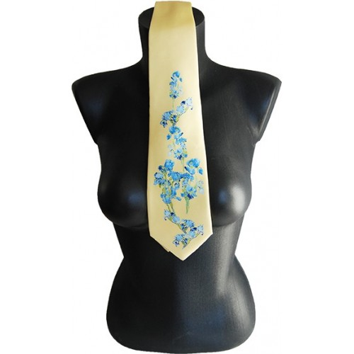 Yellow silk tie with printed artworks of Van Gogh