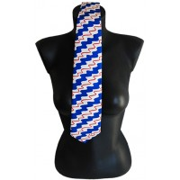Blue silk tie with printed artworks of Delaunay