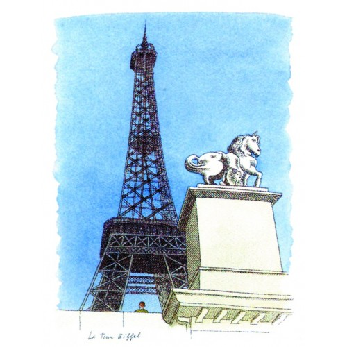 Affiche illustration La Tour Eiffel Le-Tan