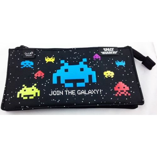 Trousse fourre-tout plat space invaders