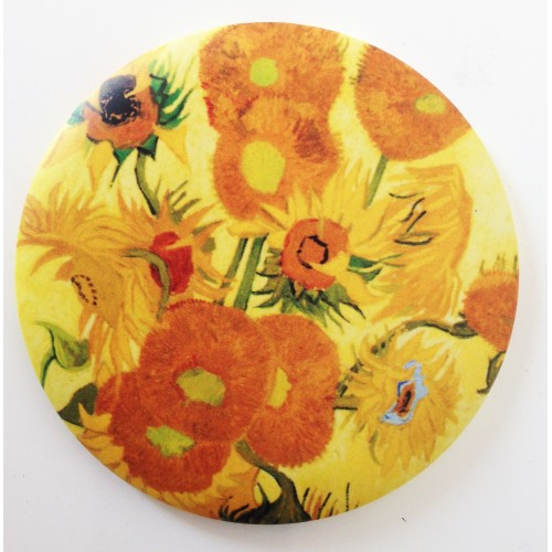 Mirror with printed artwork Sunflowers by artist Van Gogh