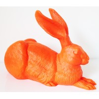 Orange rabbit Dürer Hare by Ottmar Hörl
