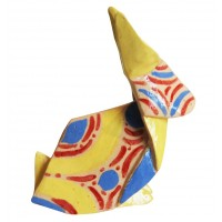 Yellow rabbit origami by chinese artist Kam Laï