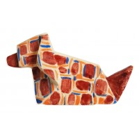 Red, blue and orange Dog Origami by chinese artist Kam Laï