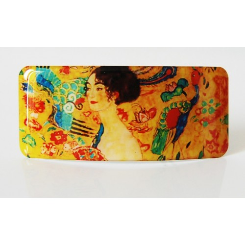Hair clip with printed artwork from famous artist Gustave Klimt