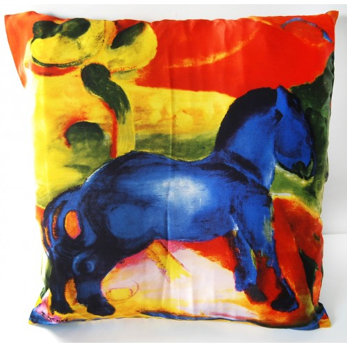 silk cushion of Franz Marc blues horses