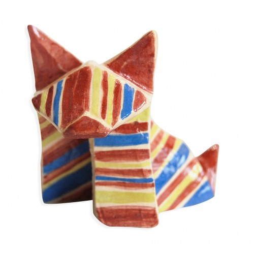 red,blue and green dog origami by chinese artist Kam Laï