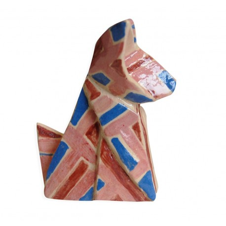 pink and blue fox origami by chinese artist Kam Laï