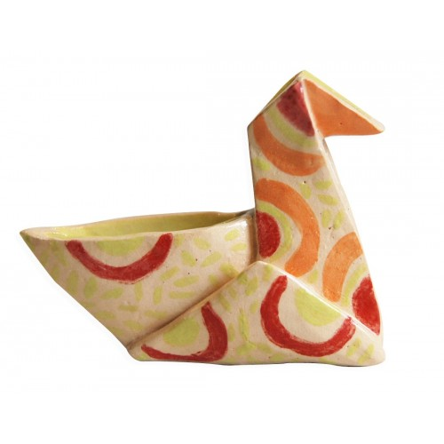 yellow, green, red and orange duck origami by chinese artist Kam Laï