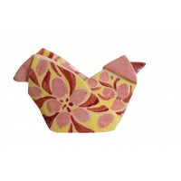 Red, pink and yellow hen origami by chinese artist Kam Laï