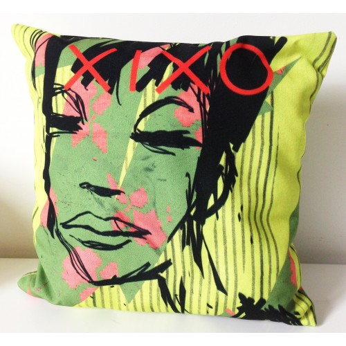 Coussin Pop Fun Design Visage en couleurs par Xixo