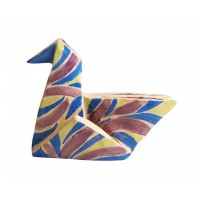 violet, green and blue duck origami by chinese artist Kam Laï