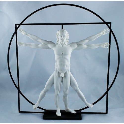 White Vitruve's man sculpture by Leaonard de Vinci