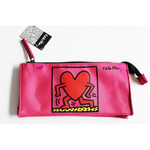 Red Pencil school case with Keith Haring artwork printed.