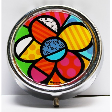 Pillulier rond original coloré fleur par Britto