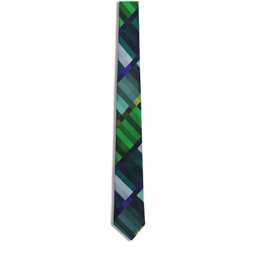 Tie silk Funk Green pattern
